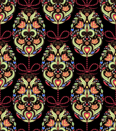 russian easter: Vector illustration of seamless pattern with easter eggs
