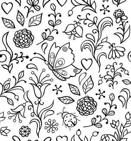 Vector illustration of seamless pattern with abstract flowers. Floral background Vector