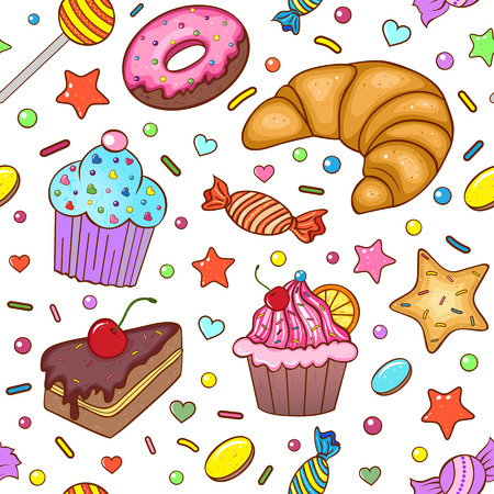 Vector illustration of seamless pattern with sweets Vector