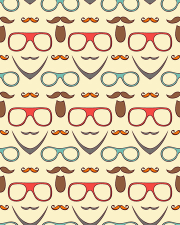 illustration of seamless pattern with mustaches,beards and eyeglasses  Vector
