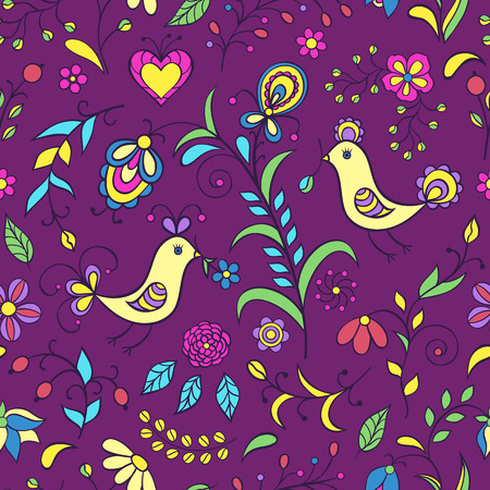 Vector illustration of pattern with abstract flowers and birds.Floral background Vector