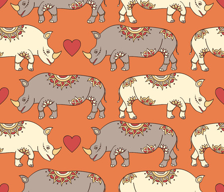 pachyderm: Vector illustration of seamless pattern with colorful rhinoceroses Illustration