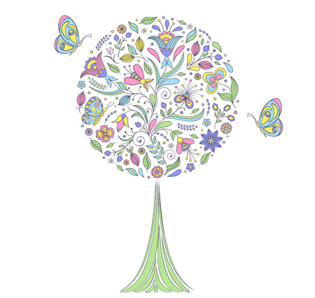 Vector illustration of colorful   tree on white background Vector