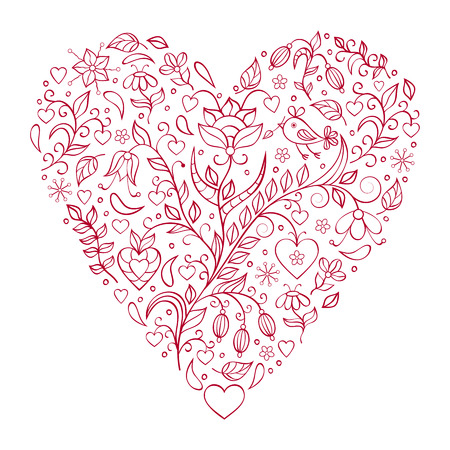 Vector illustration of floral valentines heart isolated on white background. Vector