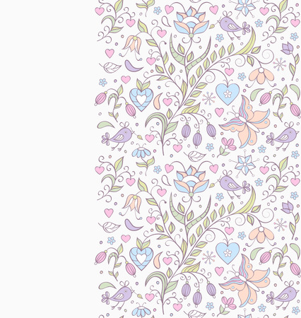 Vector illustration of pattern with abstract flowers,butterflies and birds.Floral background Vector
