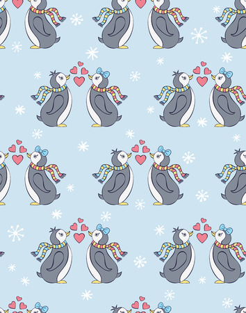 Vector illustration of seamless pattern with penguins Vector