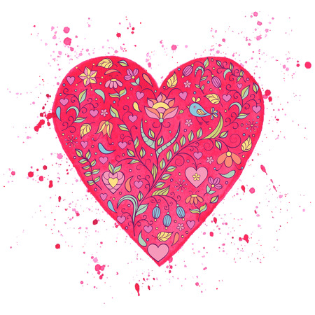 Vector illustration of watercolor heart with floral pattern on white background Vector