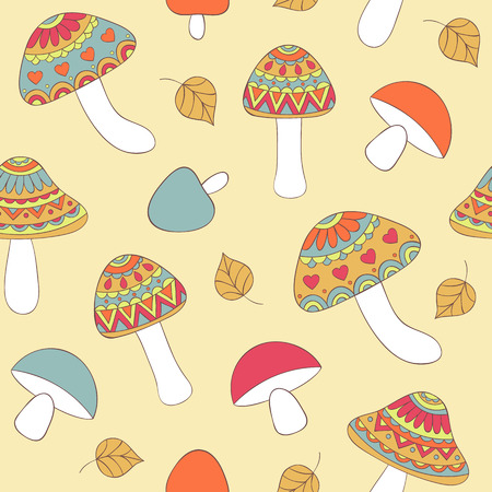 Vector illustration of seamless pattern with abstract mushrooms Vector