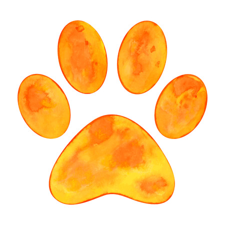 Vector illustration of watercolor animal paw print on white background Illustration