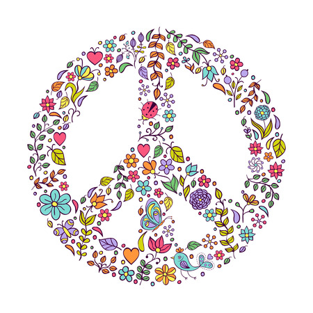 paloma de la paz: Ilustraci�n del vector del s�mbolo de paz en el fondo blanco