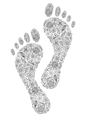 Vector illustration of floral human footprints on white background Vector