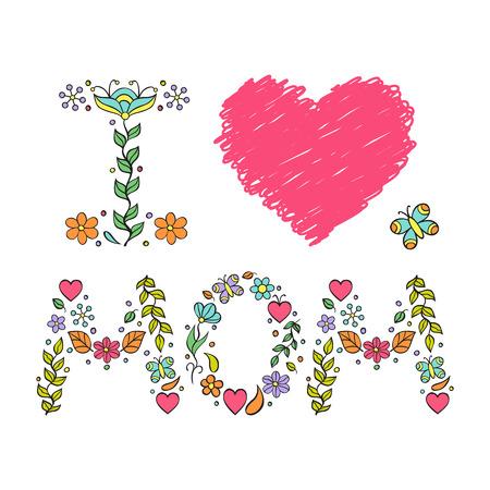 I love mom. Vector illustration of mother