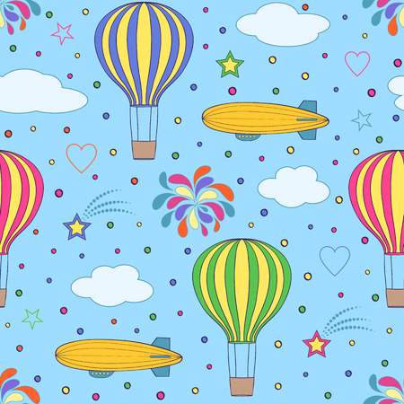 aerostat: Vector illustration of  air balloons and airships on the blue sky