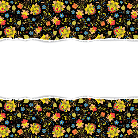Vector illustration of floral pattern with torn paper