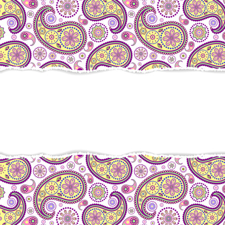 repeat texture: Vector illustration of seamless paisley pattern with torn paper Illustration