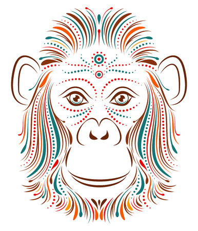 mandrill: Vector illustration of abstract monkey on white background