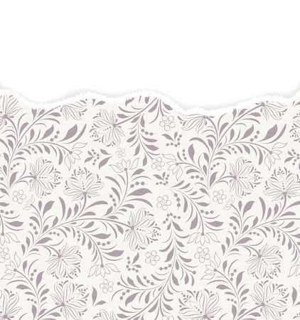 Vector illustration of  floral  pattern with torn paper.
