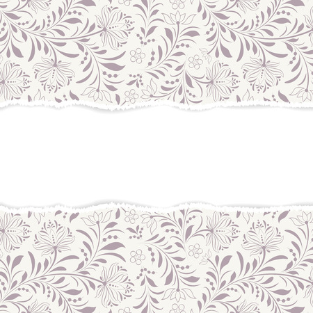 color separation: Vector illustration of  floral  pattern with torn paper.