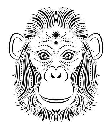 monkey face: Vector illustration of abstract monkey on white background