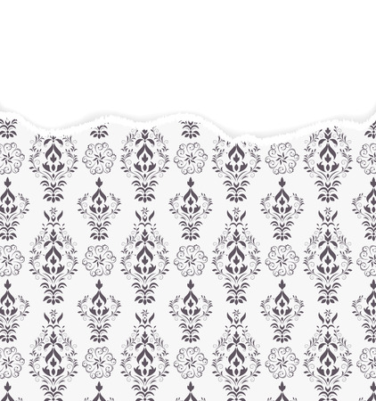 Vector illustration of damask pattern with torn paper