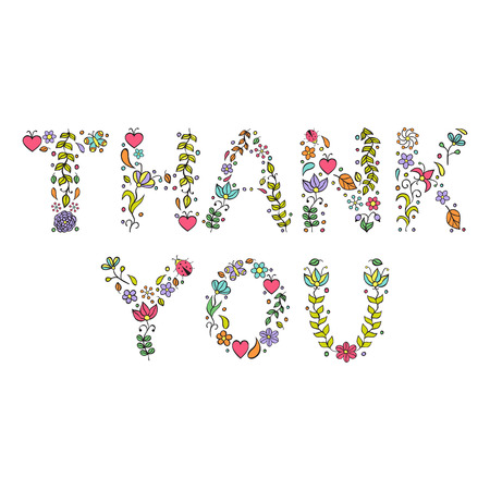 Vector illustration of Thank you text on white background Stock Photo