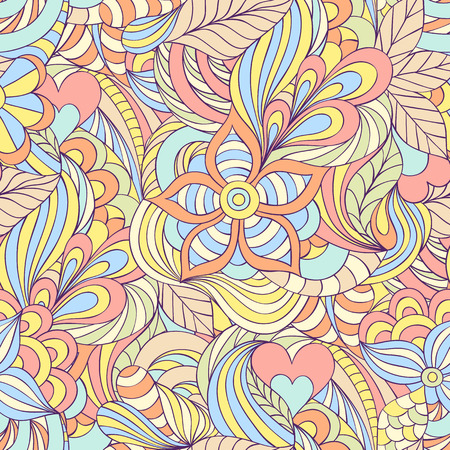 abstract pink: Vector illustration of seamless pattern with abstract flowers,hearts,leaves and lines. Illustration