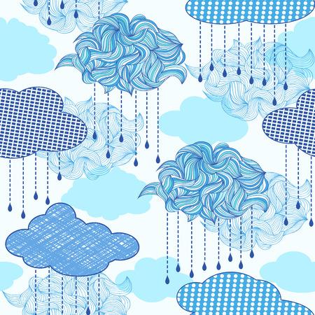 lluvia: Ilustración vectorial de patrón transparente con nubes abstractas y las gotas de lluvia