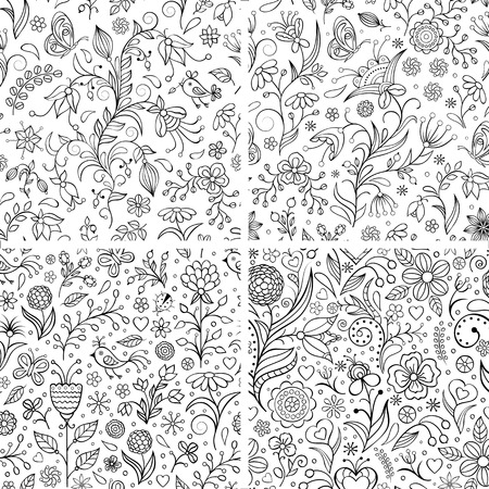 doodles: Vector illustration of set with floral patterns.Floral backgrounds. Illustration