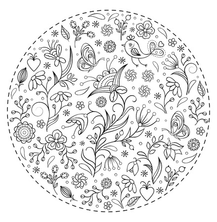 beautifu: Vector illustration of floral hand drawn pattern Illustration