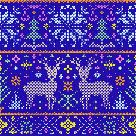 cross stitch: Vector illustration of christmas seamless pattern with deers, trees and snowflakes