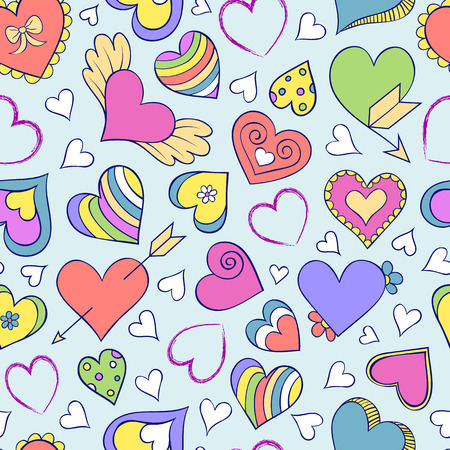 valentines: Vector illustration of seamless pattern with hearts and other elements