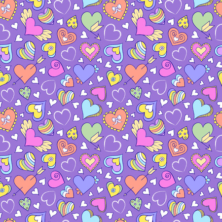 flower pattern: Vector illustration of seamless pattern with hearts and other elements