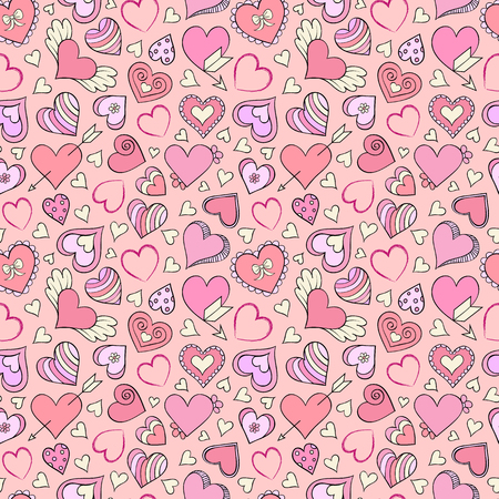 Vector illustration of seamless pattern with colorful hearts