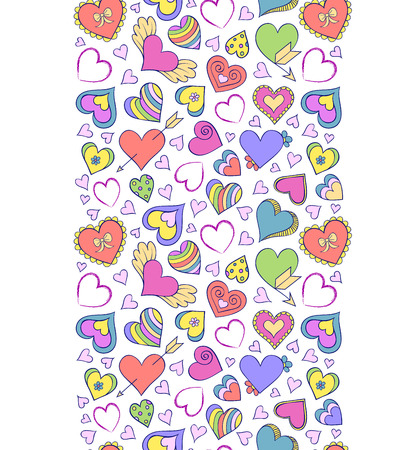doodle: Vector illustration of seamless pattern with  colorful hearts Illustration
