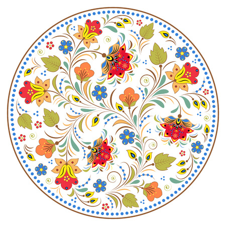 russian: illustration of floral traditional russian pattern.Khokhloma. Illustration