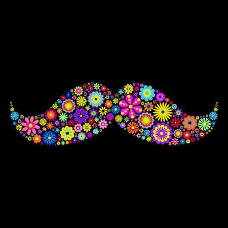 moustache: illustration of floral moustache on black background