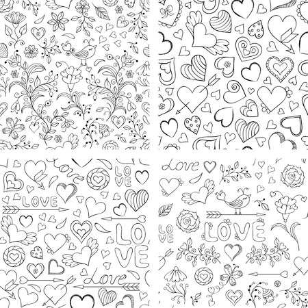 color design: illustration of set of  seamless patterns with hearts, flowers and other elements