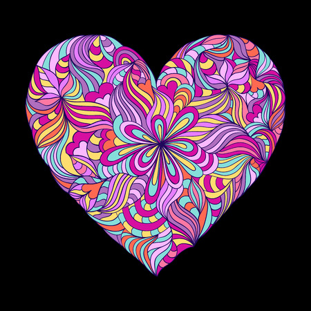 the petal: illustration of abstract colorful heart on black background