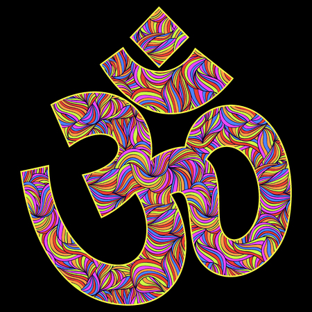 ohm: illustration of Om symbol on black background
