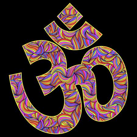 om symbol: illustration of Om symbol on black background