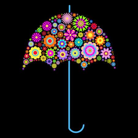 illustration of floral umbrella on black background