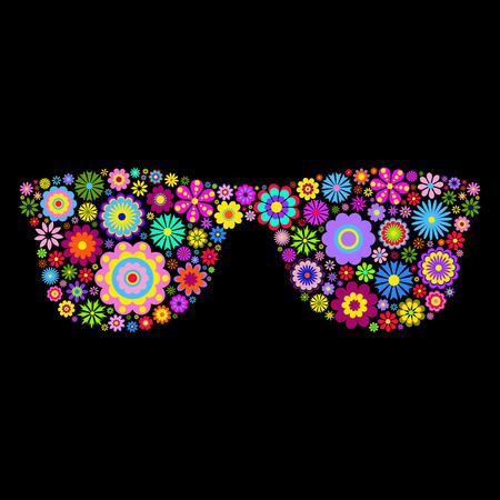 eyeglasses: illustration of floral eyeglasses on black background