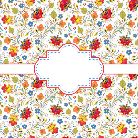 russian pattern: illustration of colorful floral invitation card.Traditional russian pattern.