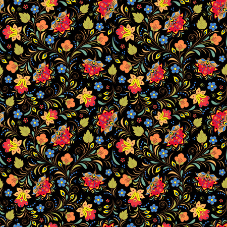 russian: illustration of seamless pattern with traditional russian floral ornament.Khokhloma.