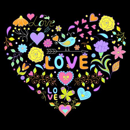 background color: Vector illustration of floral valentines heart  on black background.