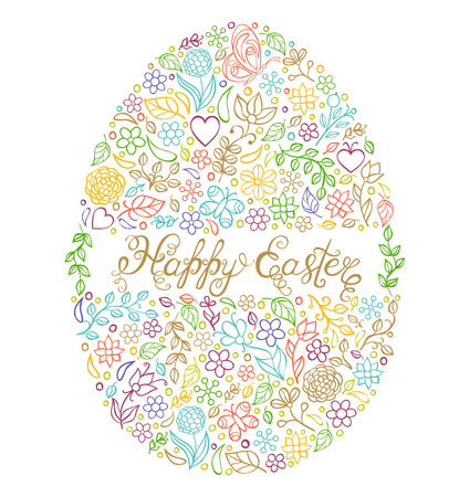 purple butterfly: vector illustration of colorful easter egg on white background
