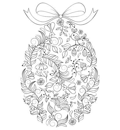 illustration of floral  easter egg on white background  イラスト・ベクター素材