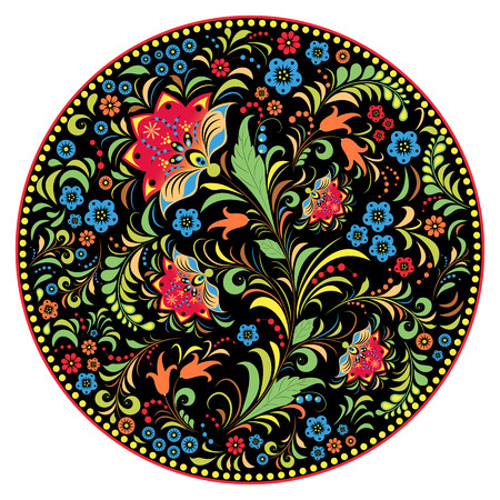 traditional illustration: illustration of floral traditional russian pattern.Khokhloma. Illustration