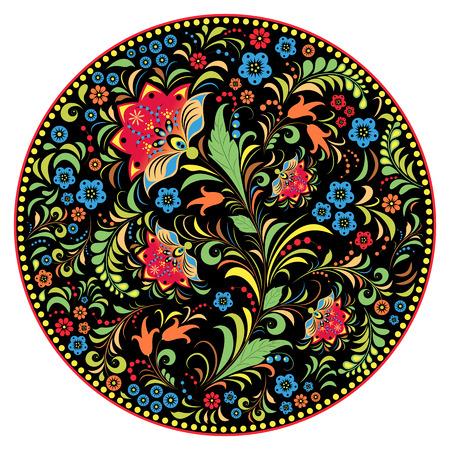 national: ilustración de flores pattern.Khokhloma ruso tradicional.