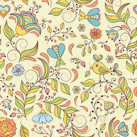 Illustration of seamless pattern with abstract flowers.Floral background
